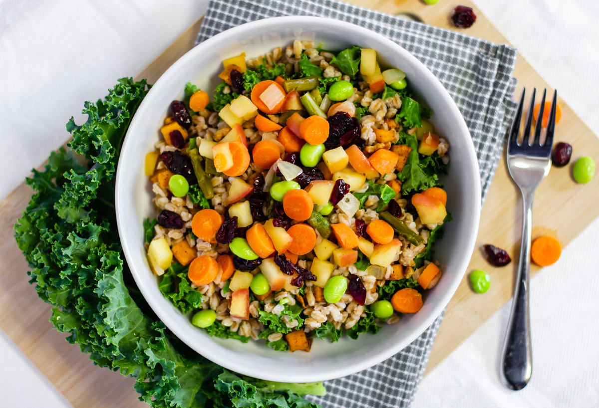 Farro Bowl with Sweet Potatoes and Kale