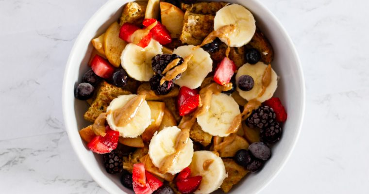 French Toast Scramble (with Apples, Peanut Butter, and Banana)