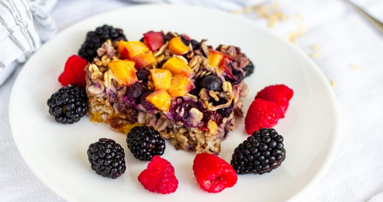 Peach and Berry Baked Oatmeal